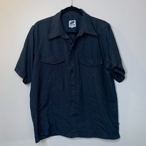 Hotsand Men's Medium Retro Button Up Shirt Navy